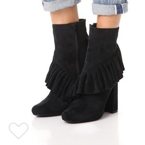 JEFFREY CAMPBELL Reilly Ruffle Ankle Booties Black